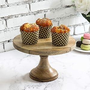 MyGift 10 Inch Solid Mango Wood Round Cake/Dessert Pedestal Display Stand