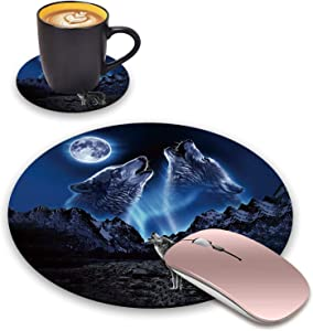BWOOLL Round Mouse Pad and Coasters Set, Howling Wolf Under The Moon Design Mouse Pad, Non-Slip Rubber Base Mouse Pads for Laptop and Computer