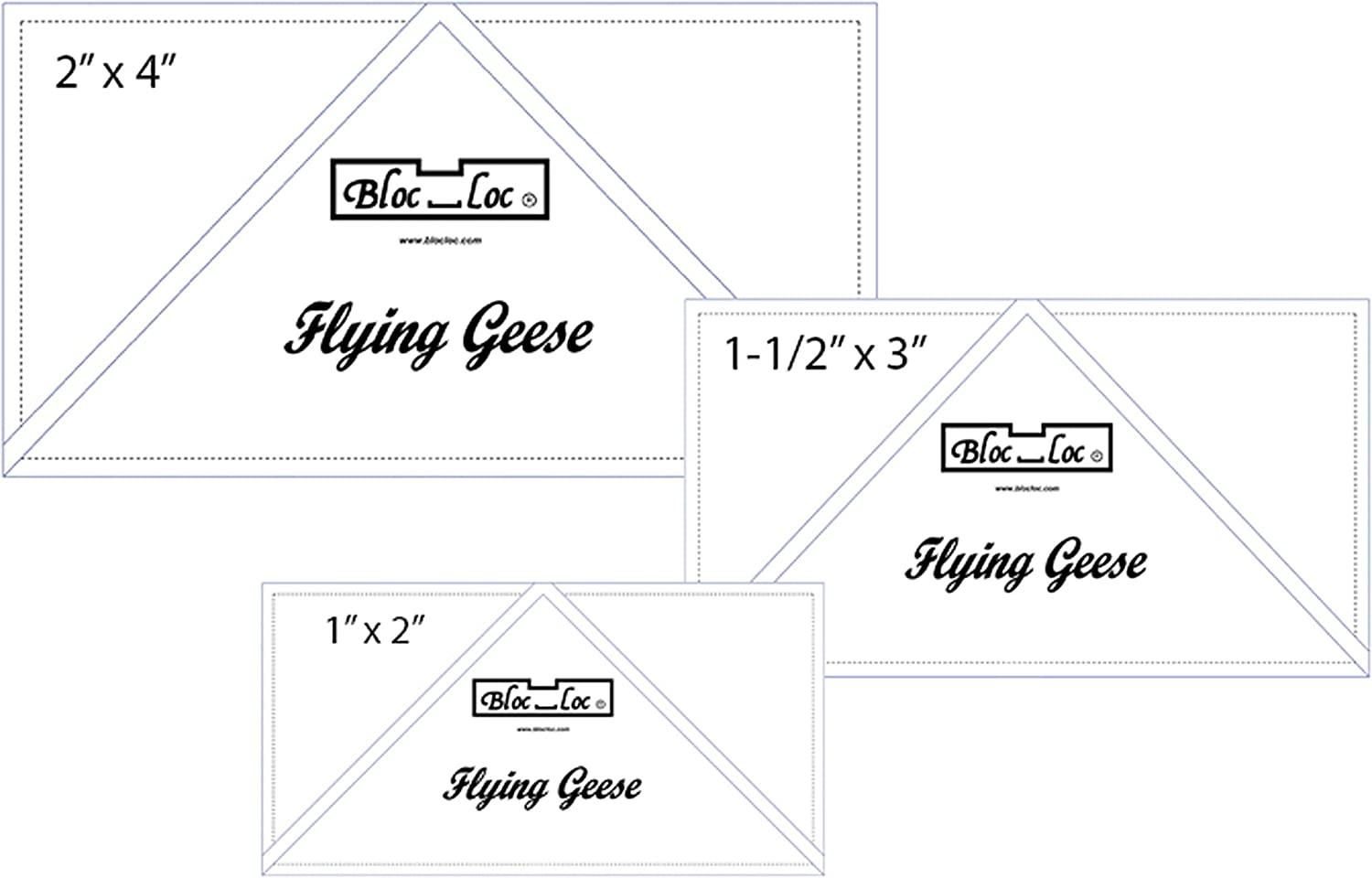 "Bloc Loc 3/"" x 6/"" Flying Geese Square Up Ruler"