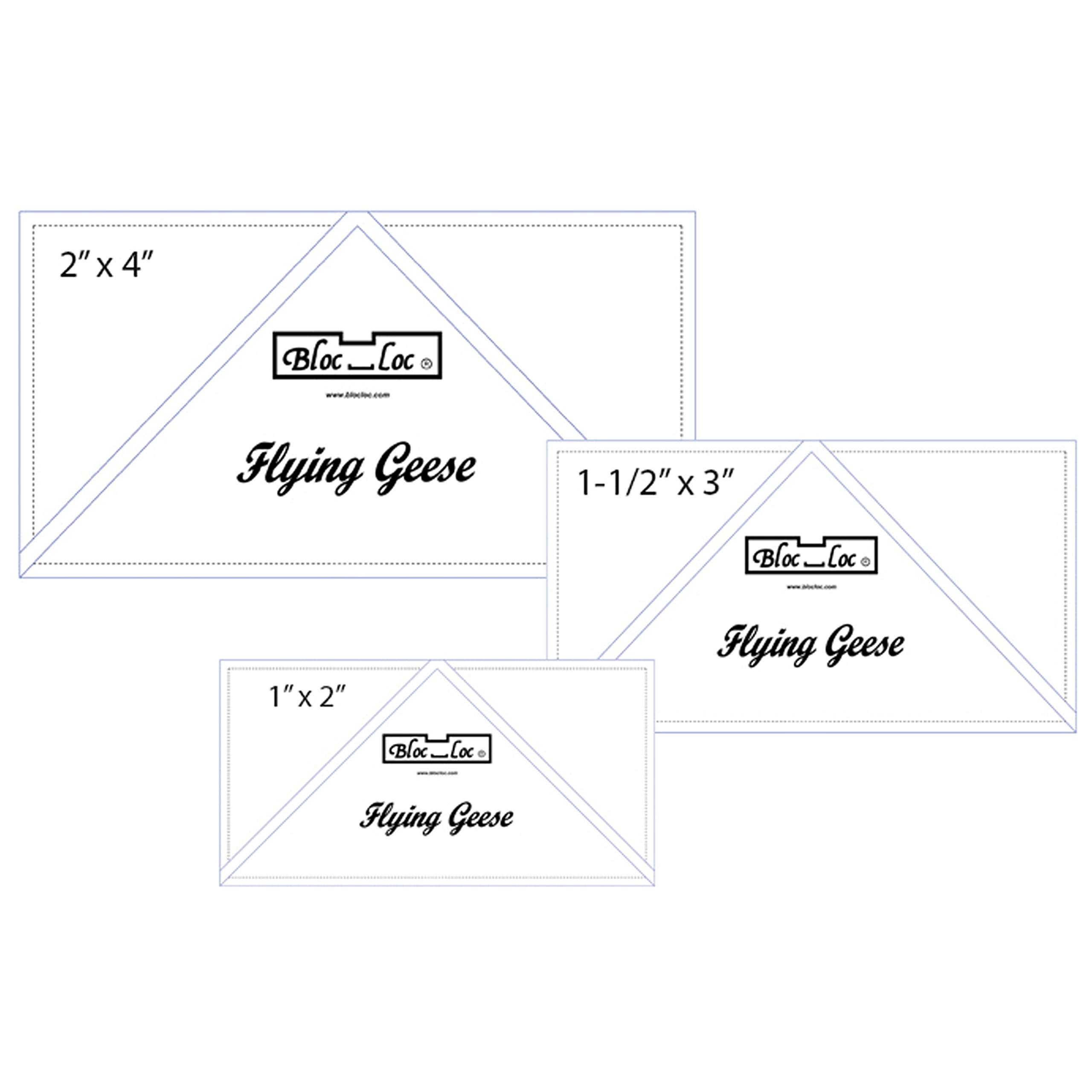 Bloc Loc 1'' x 2'' & 1.5'' x 3'' & 2'' x 4'' Flying Geese Square Up Rulers Set #6 by Bloc Loc