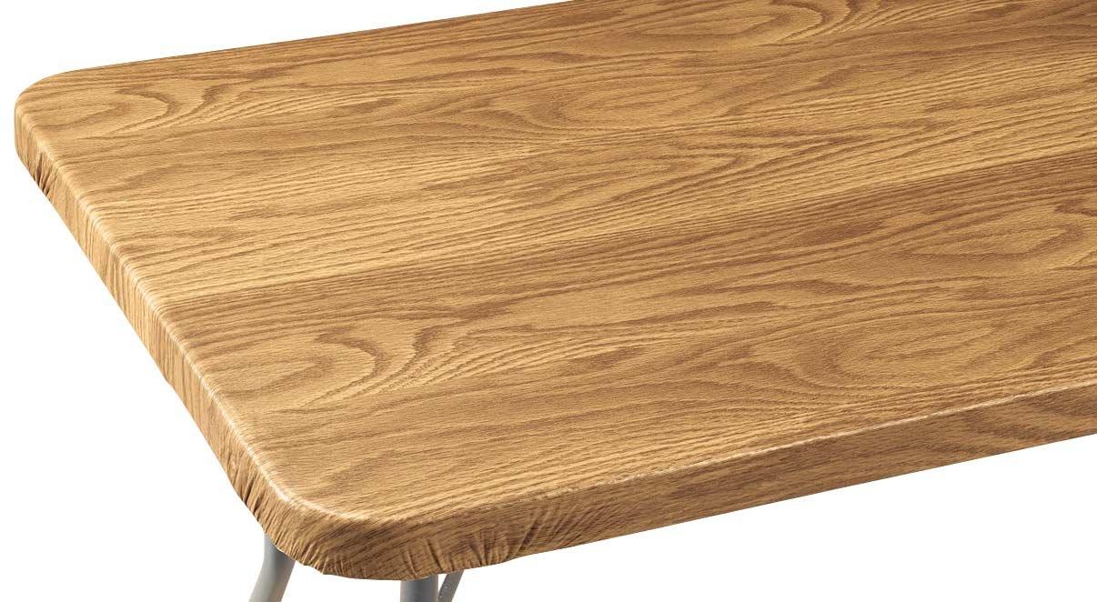 Wood Grain Vinyl Elasticized Banquet Table Cover
