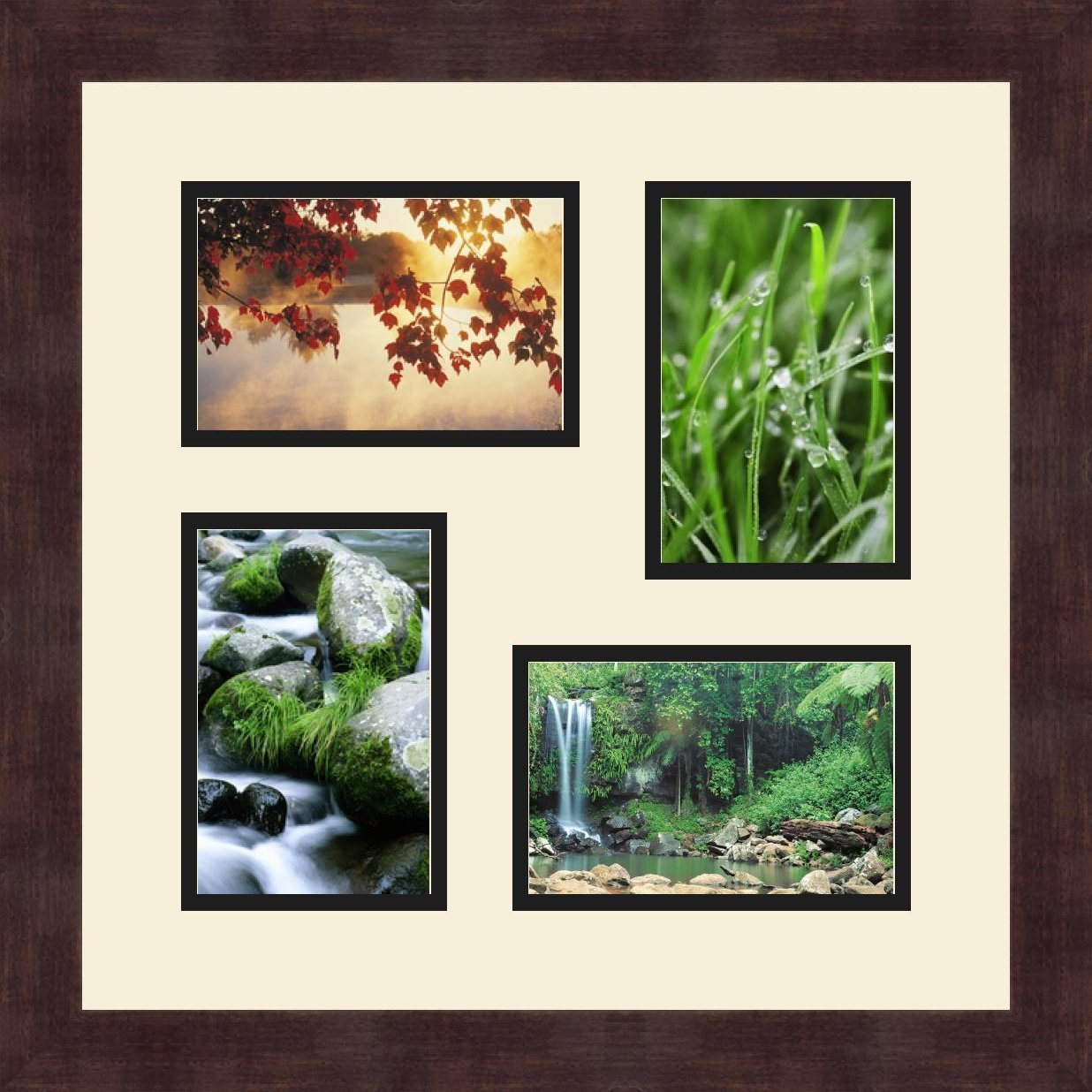 Art to Frames Double-Multimat-178-767//89-FRBW26061 Collage Frame Photo Mat Double Mat with 4-4x6 Openings and Espresso Frame