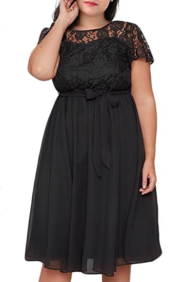 Women's Scooped Neckline Plus Size Cocktail Party Dress