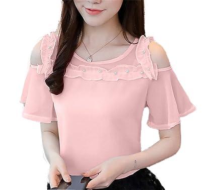 OUXIANGJU Summer Fashion Women Shirts Beading Cold Shoulder Blouse Chiffon Short Sleeve Tops