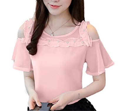 OUXIANGJU Summer Fashion Women Shirts Beading Cold Shoulder Blouse Chiffon Short Sleeve Tops