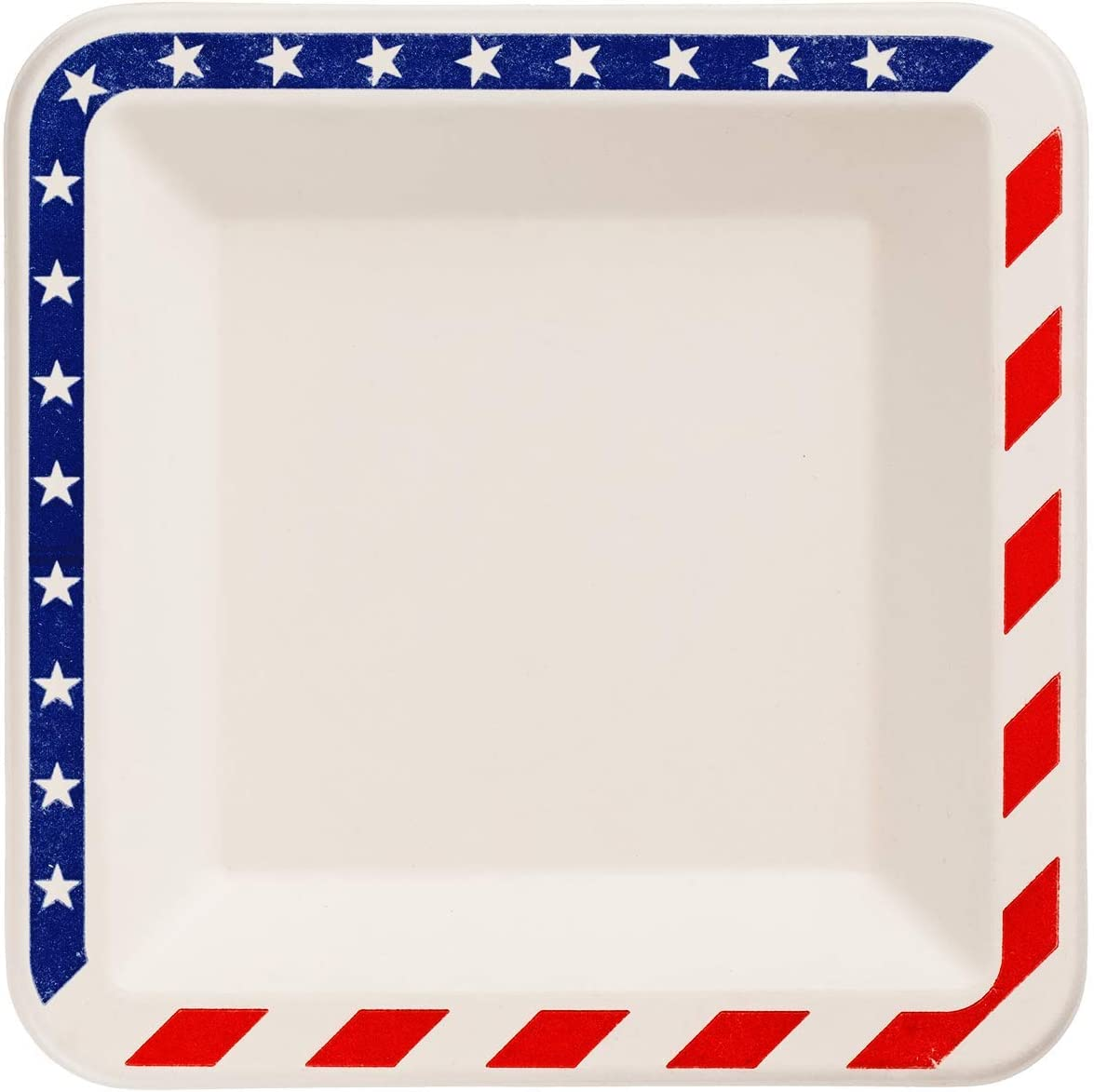 6.5-inch American Flag Patriotic Disposable Compostable Square Paper Plates, Made from Eco-friendly Plant Fibers [50 COUNT]