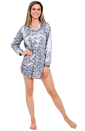 e246214bab Alexander Del Rossa Womens Satin Nightshirt, Boyfriend Style Sleepshirt  with Mask, XS Blue and
