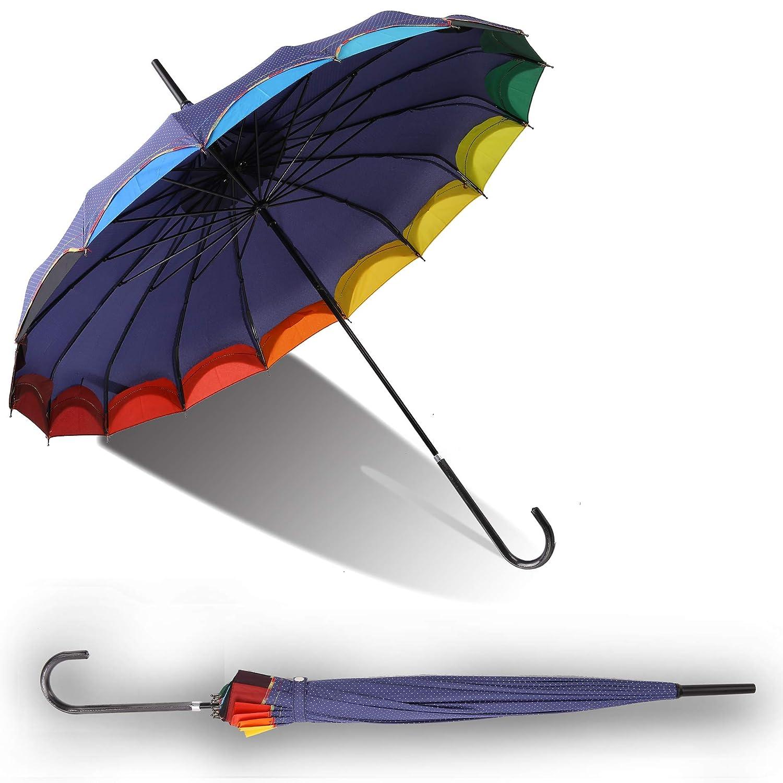 b34e716c3638 QUEENSHOW Creative Rainbow Pagoda Umbrella, Retro Small Fresh Wave point  Sun Umbrella Stick Umbrella UV Protection Umbrella Retro with Hook Handle  for ...