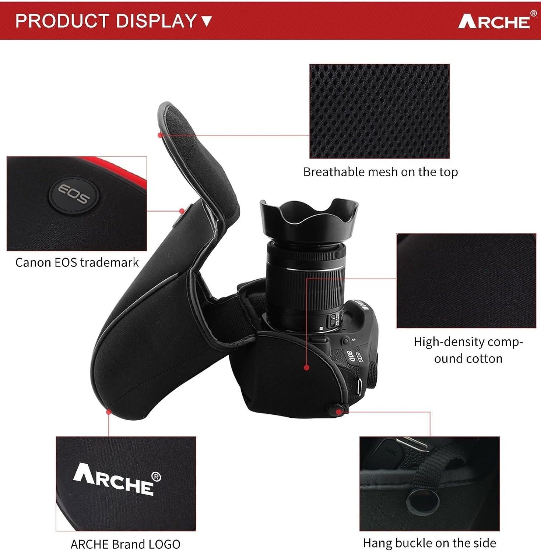 Arche DSLR Funda de neopreno para c/ámara Canon 50D 60D 70D 77D 80D 750D 800D con cuerpo de c/ámara tama/ño grande 24-70 mm //24-105mm//17-85 mm