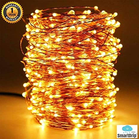 smartdrip 20 meters 200 led copper string fairy light with usb, waterproof, sturdy design made of 3 copper wires 1 year warranty warm white indoor Two Wiring Two LED Lights