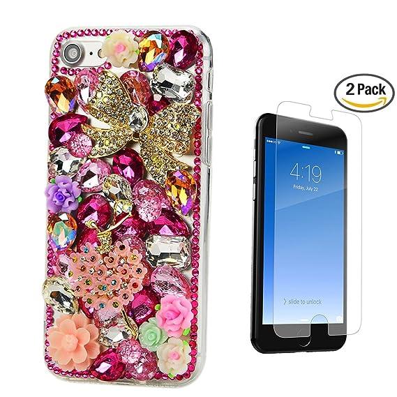e6427eb6946 STENES iPhone 8 Plus Case - 3D Handmade Luxury Flowers Dance Girl Flowers  Sparkle Rhinestone Cover