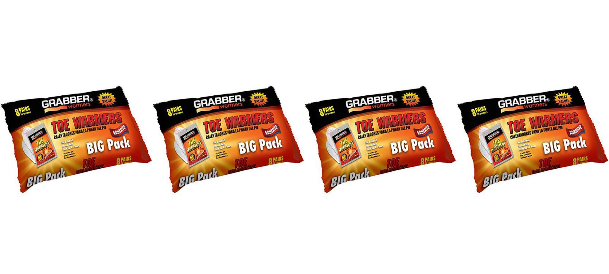 GRABBER WARMERS Toe Warmer Big Pack (8-Pack), 9 x 4.5-Inch (Fоur Расk) by GRABBER WARMERS