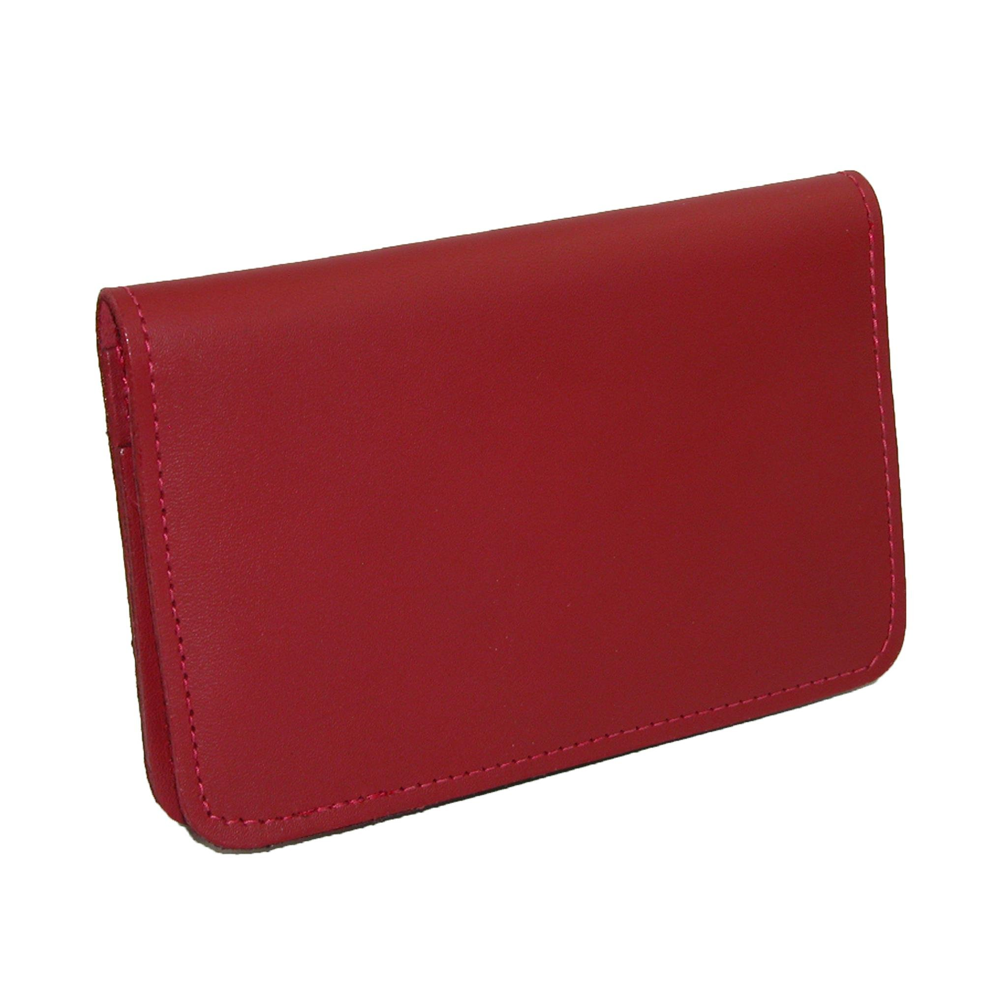 CTM Leather Top Stub Checkbook Cover, Red