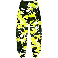 Aelstores Pantalones de camuflaje de neón para niñas Ali Baba Harem pantalones holgados para niños de 5 a 14 años
