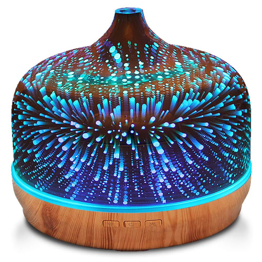 500ml Essential Oil Diffuser 3D Glass Aromatherapy Ultrasonic Humidifier - 7 Color Changing LEDs, Waterless Auto-Off,Timer Setting, BPA Free for Home Hotel Yoga SPA Gift by Porseme