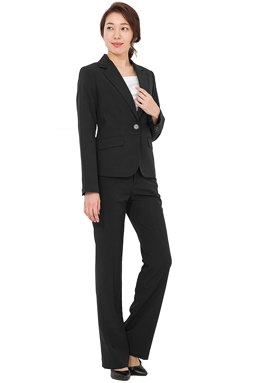 [アッドルージュ] スーツ レディース パンツスーツ ジャケット セット 洗える 抗菌 消臭 UVカット 【j5038】 B01MRE5YUJ 19号ABR|ブラック ブラック 19号ABR