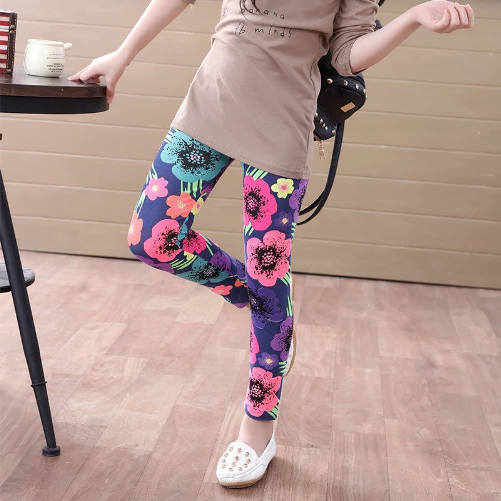 URMAGIC Baby Girls Children Kids Floral Pattern Leggings Stretchy Tight Pants Plain Tights for 2-14 Years