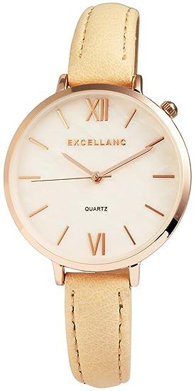 Reloj mujer nácar Oro Amarillo Números Romanos analógico cuero reloj de pulsera: Amazon.es: Relojes