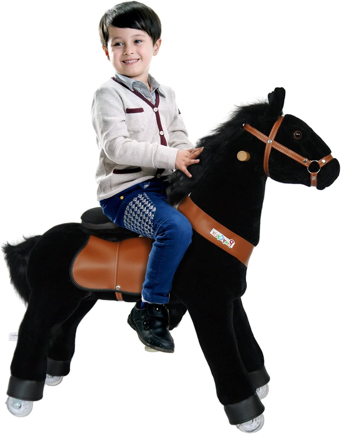 PonyCycle Toy Ride on Pony Horse Black Medium Black Mane