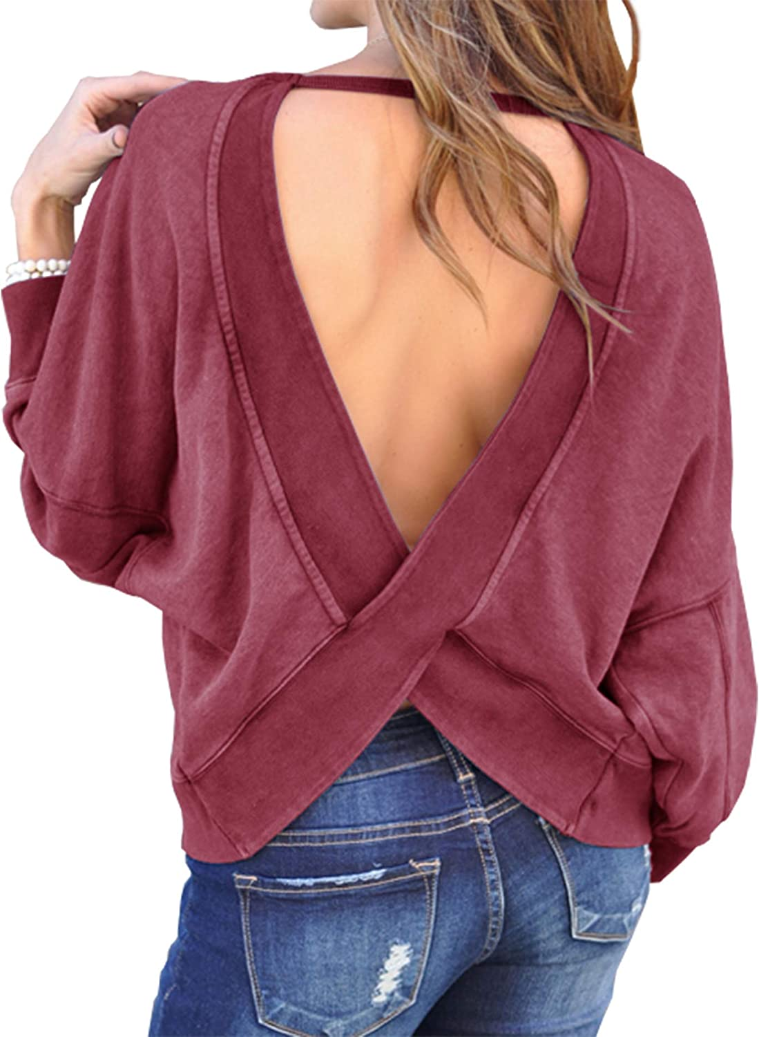 Sexyshine Womens V Neck Criss Cross Backless Sweater Pullovers Wine