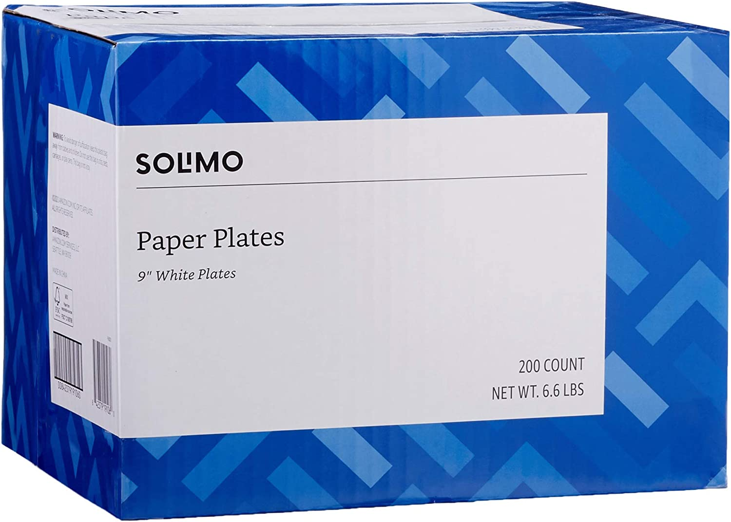 Amazon Brand - Solimo Disposable White Paper Plates for All Occasions, 9