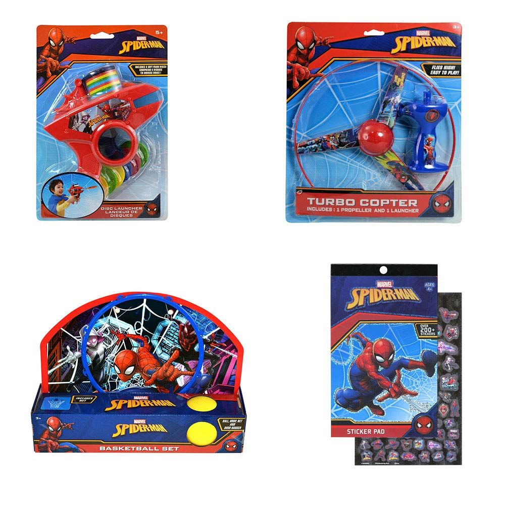 Spider-Man Basketball Set, Turbo Copter, Disc Launcher, and Stickerpad Bundle