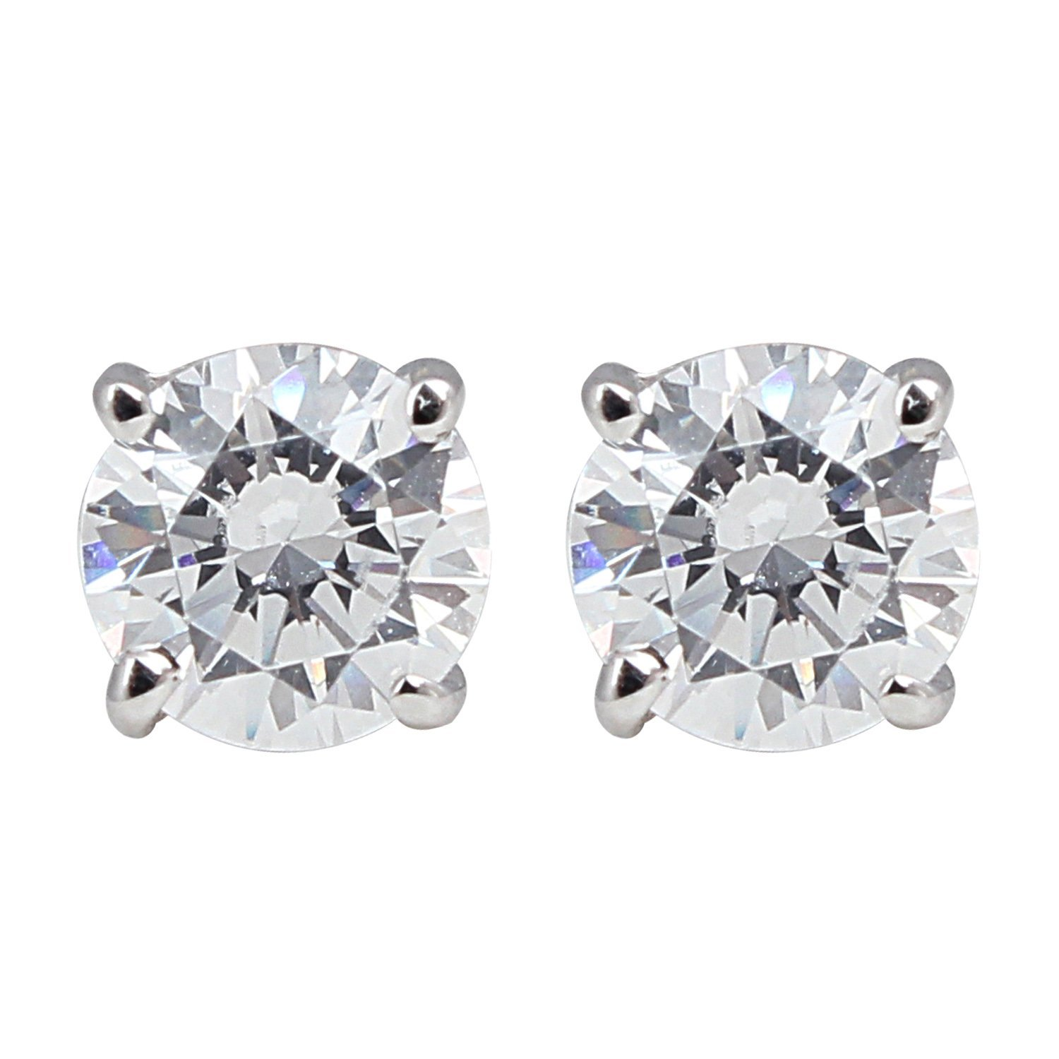 Amazon 14K White Gold Round Diamond Stud Earrings 1 cttw