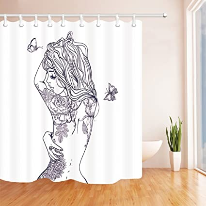 Chengsan Girly Decor Shower Curtain Set Young Girl With Tattoos And Butterflies Free Your Soul
