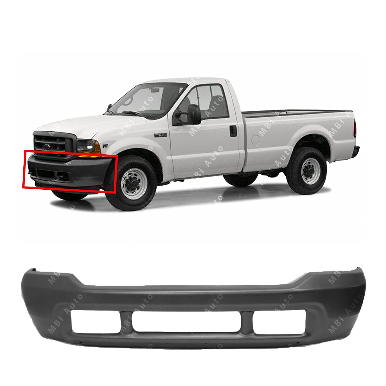 MBI AUTO - Primered, Steel Front Bumper Face Bar for 1999-2004 Ford F250 F350 Super Duty 99-04, FO1002365