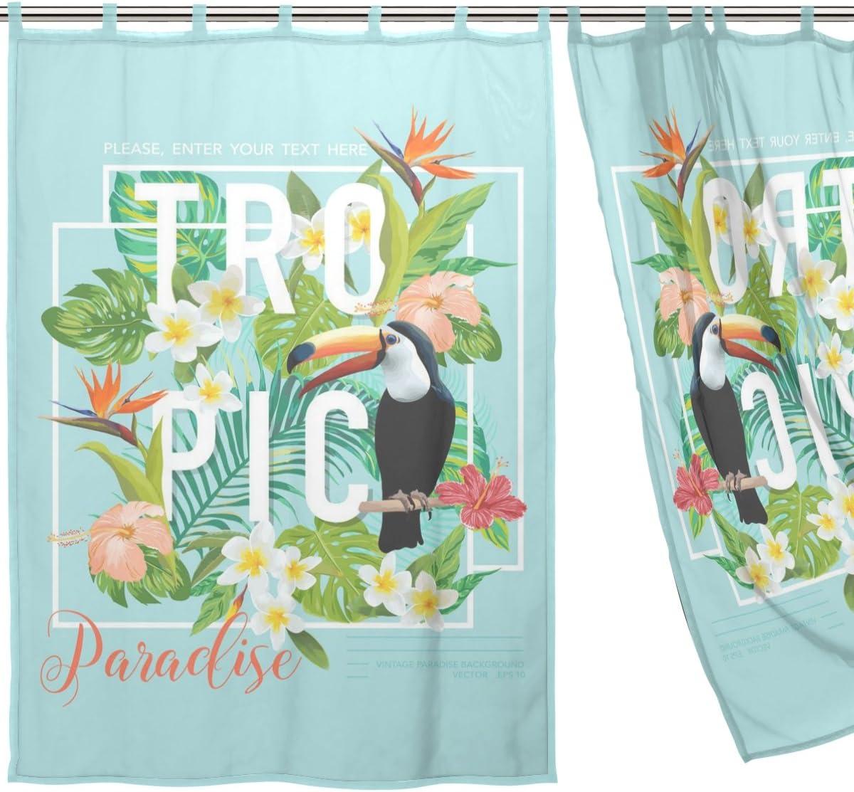 Tropical Floral Bird /étroit Jstel 2/pcs Voile de rideau de fen/être tulle Sheer Rideau Drape Lit 139,7/x 198,1/cm Ensemble de deux Panneaux