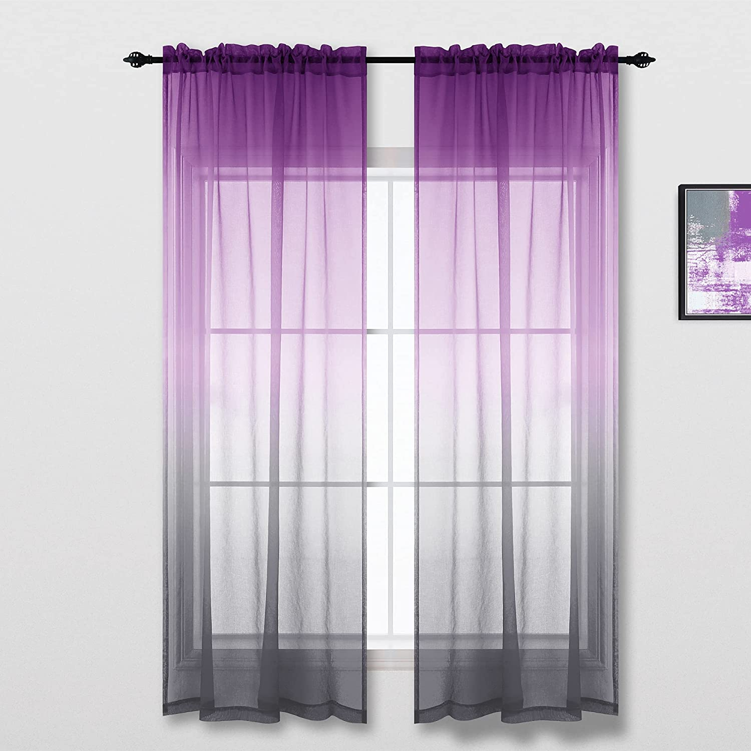 Purple and Grey Curtains for Glam Decor Ombre Accent Sheer Decorative Curtains for Living Room Bedroom Decorations Plum and Gray