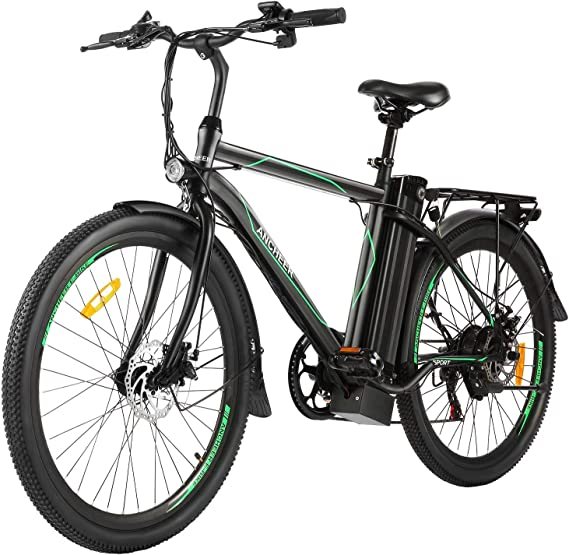 "ANCHEER 26"" Electric Cruiser Bike w/Removable 10AH Battery Adults City Ebike and 6 Speed Gear Electric Bicycle"