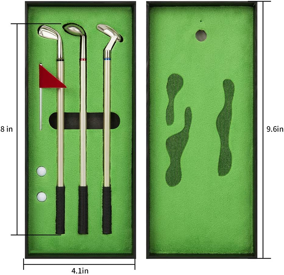 Golf Pen Set, Mini Desktop Golf Ball Pen, Top Golf Gift with Putting Green, 3 Golf Clubs Pens with Balls and Flag