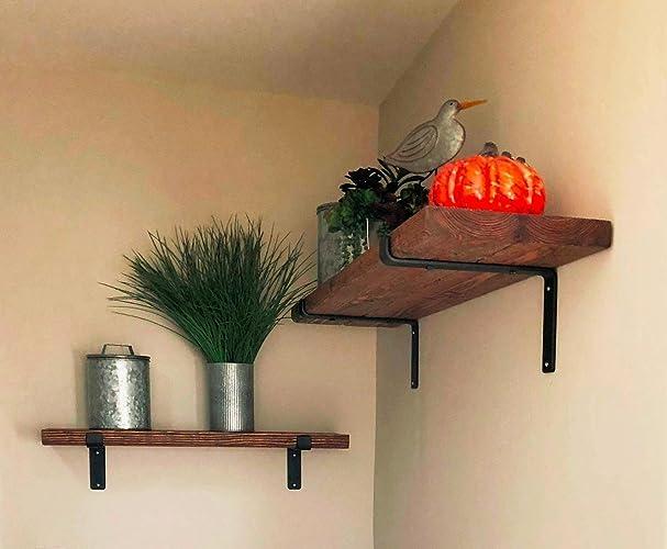 Rustic Farmhouse Shelf, Modern Industrial Wood Shelf U0026 Iron Brackets, Kitchen  Shelves