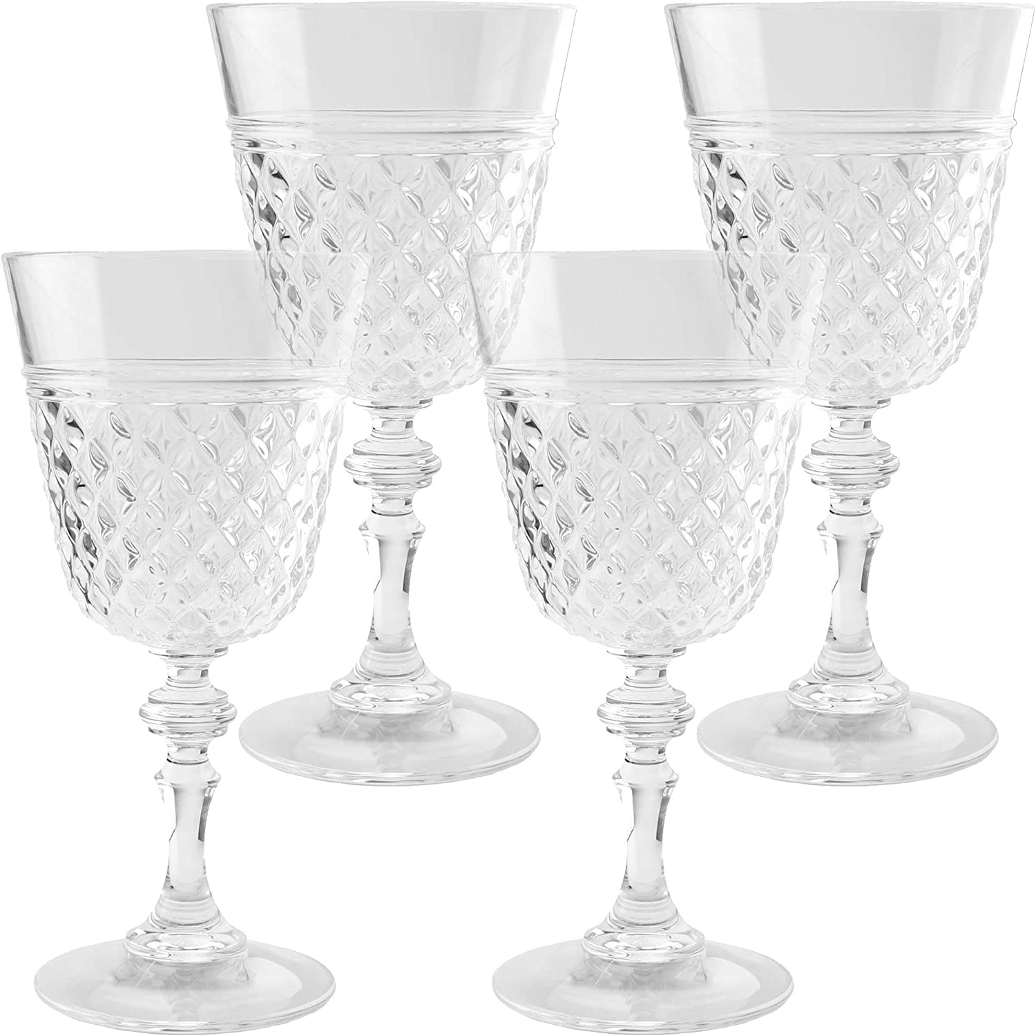PG Clear Acrylic/Plastic Stemmed Wine Glass/Goblet/Tumbler Set 4 - Super Clear,, Durable
