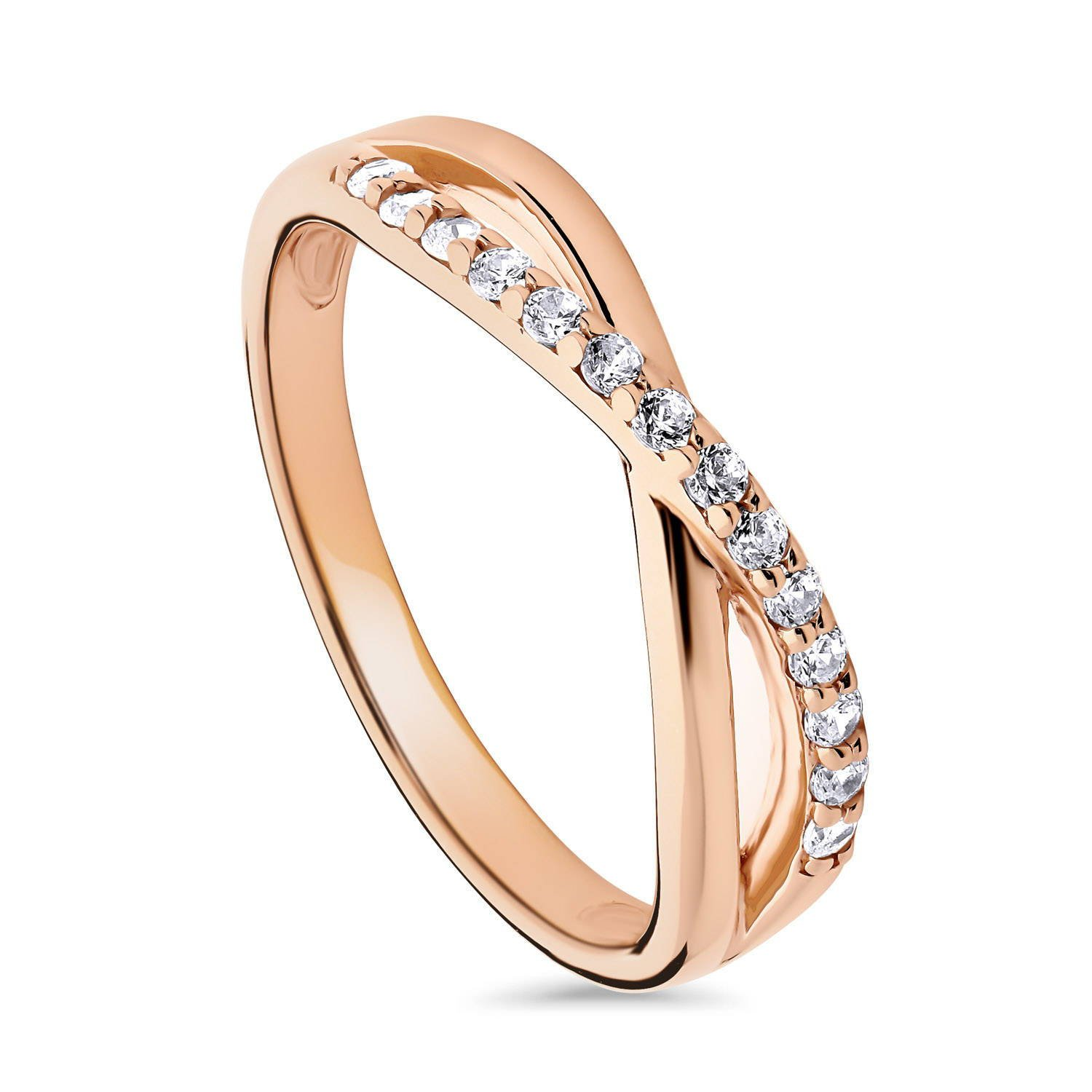 BERRICLE Rose Gold Plated Sterling Silver Cubic Zirconia CZ Infinity Ring Size 6