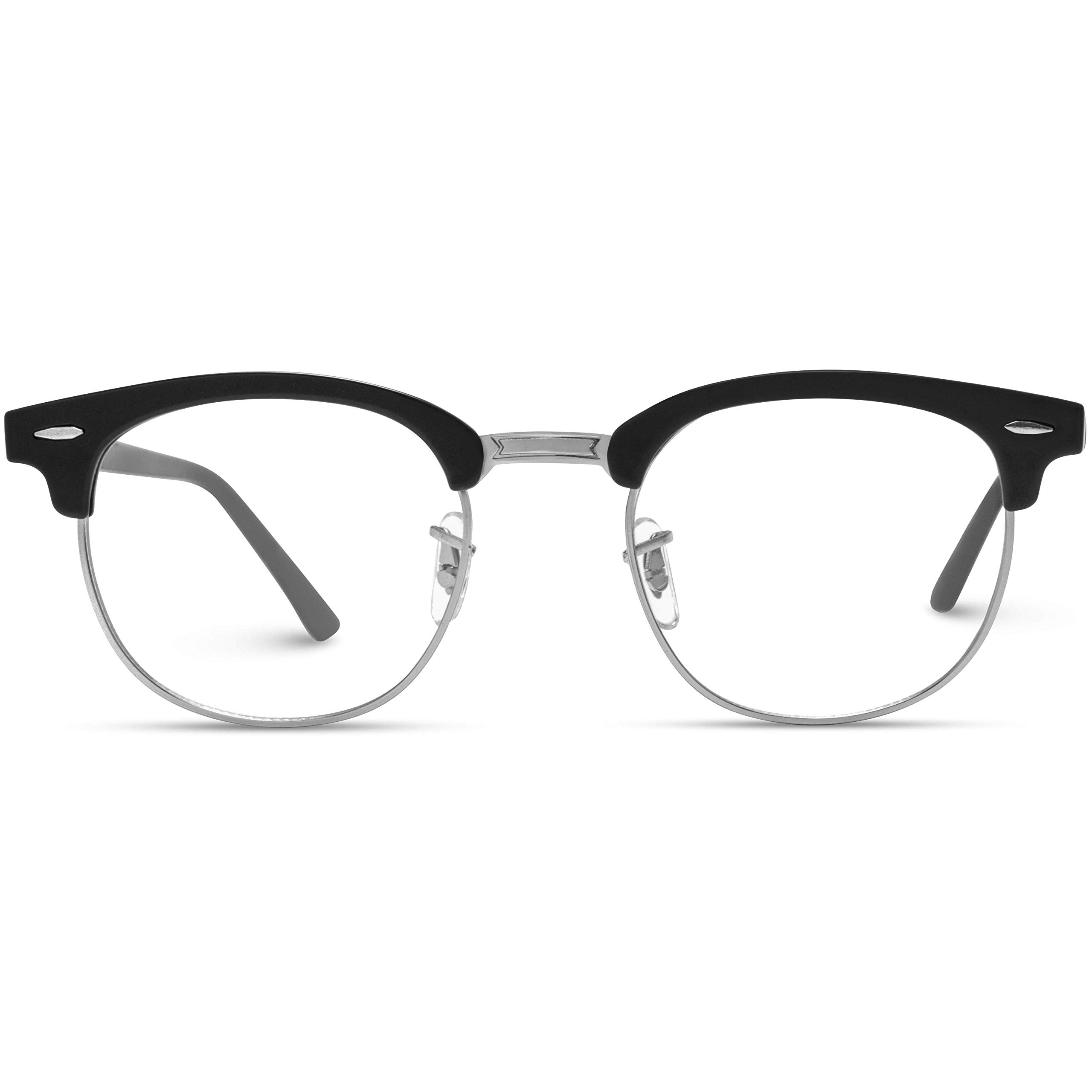 Vintage Inspired Classic Half Frame Horn Rimmed Clear Lens Glasses Optical Quality by WearMe Pro
