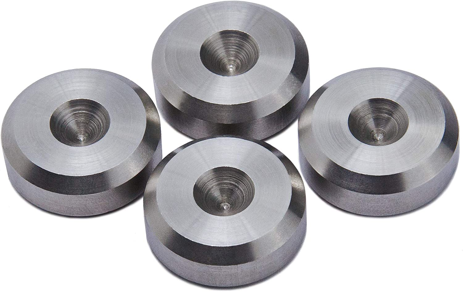 Aluminium Speaker Spike Pads 20mm dia Chamfered PrecisionGeek Set of 8 pieces