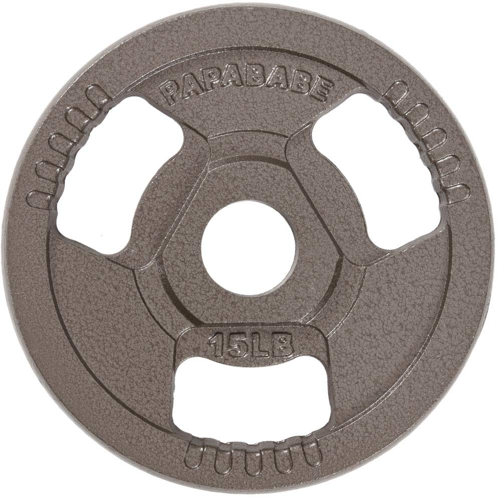 PAPABABE Weight Plates Barbell 2-Inch Olympic Grip Plate 2.5 5 10 15 25 35lbs