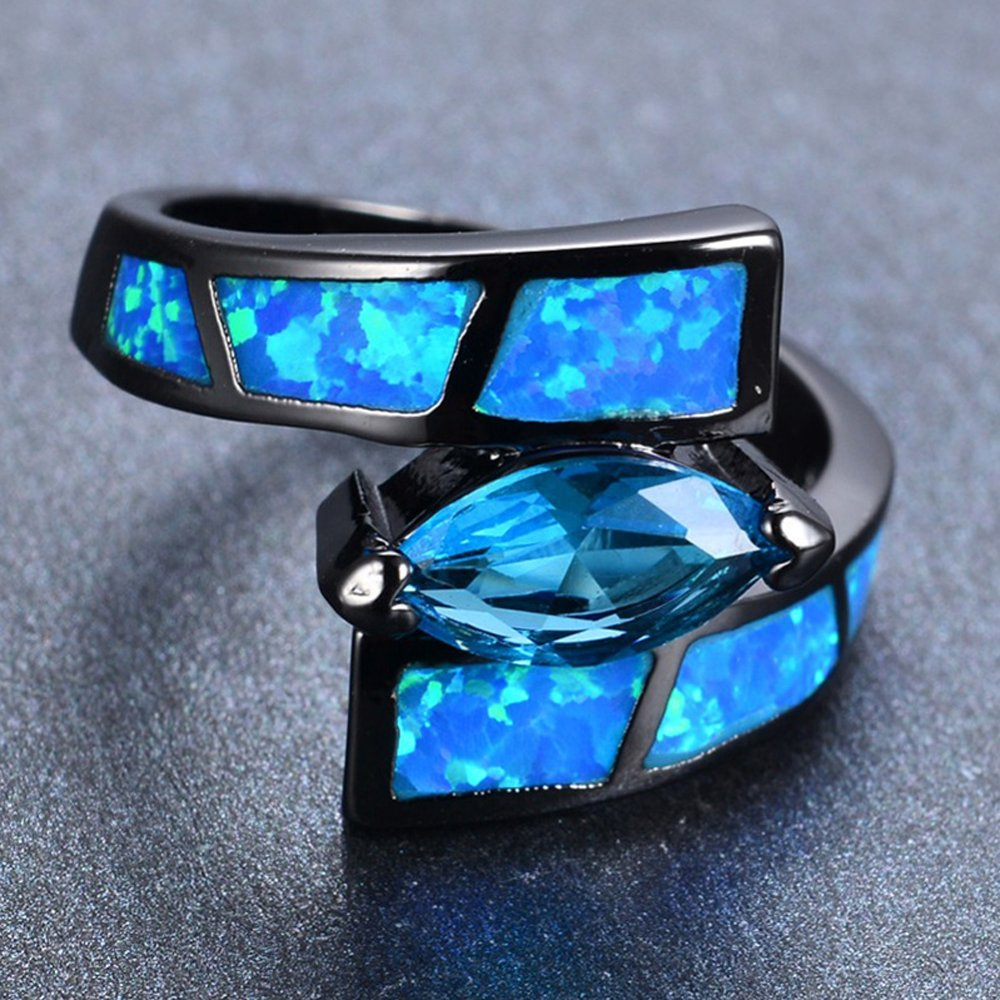 FT-Ring Ocean Blue Fire Opal Jewelry Wedding Ring For Women Engagement Wedding Rings