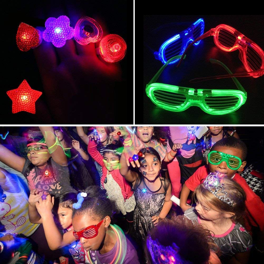 68 Pack LED Light Up Toys Halloween LED Glow Party Favors for Kids Glow in the Dark Party Supplies 4 Flashing Slotted Shades Glasses 10 Glow Rings 50 LED Finger Lights 5 LED Bracelets Christmas Gift by Godlike (Image #7)