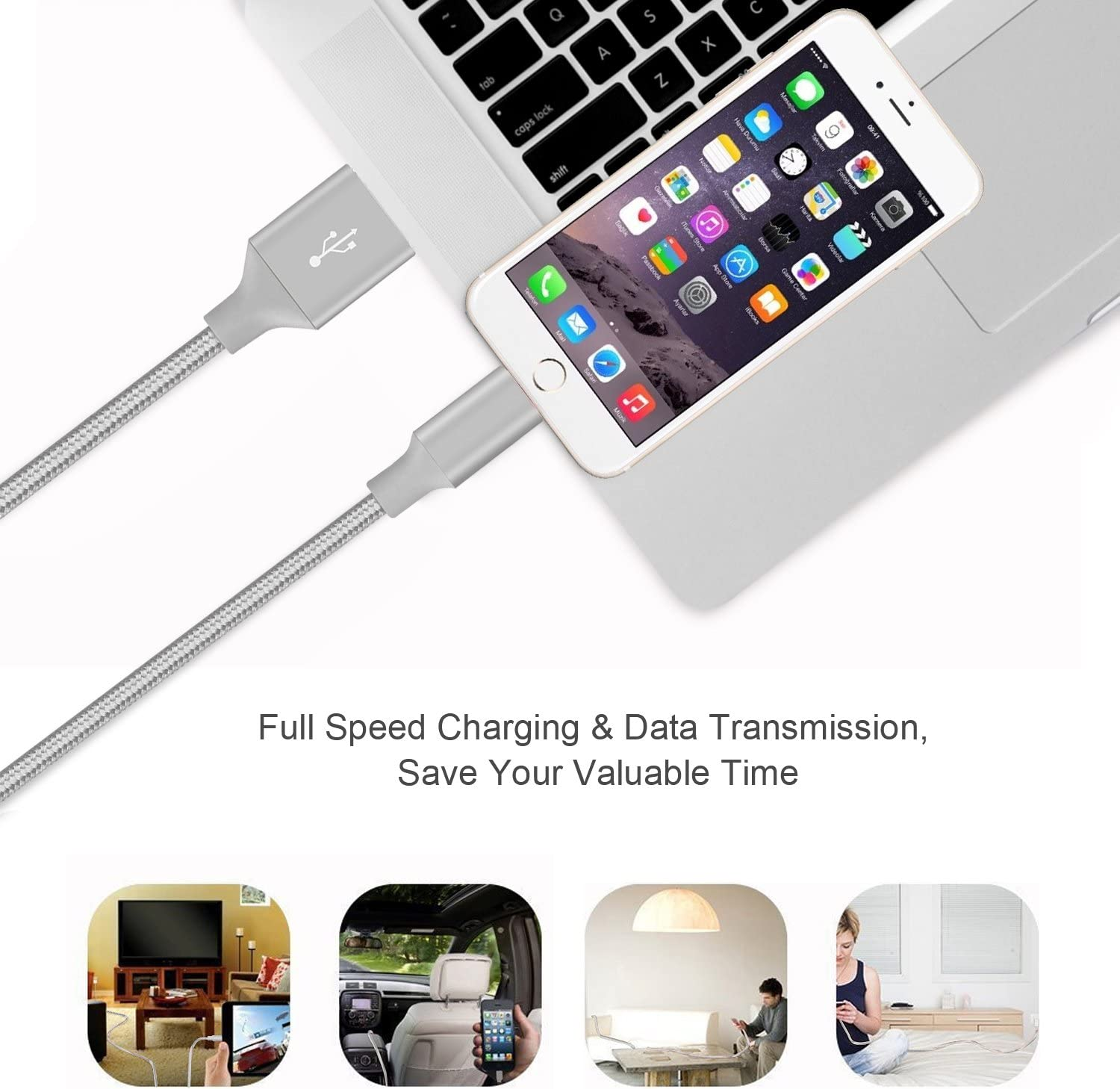 Gray MarchPower iPhone charger Lightning to USB Cord Certified 2 Pack 10ft Extra Long Charging Cable For iPhone X 8 Plus 7 Plus 6 6S 6 Plus 5S SE iPod iPad Mini Air Pro and More