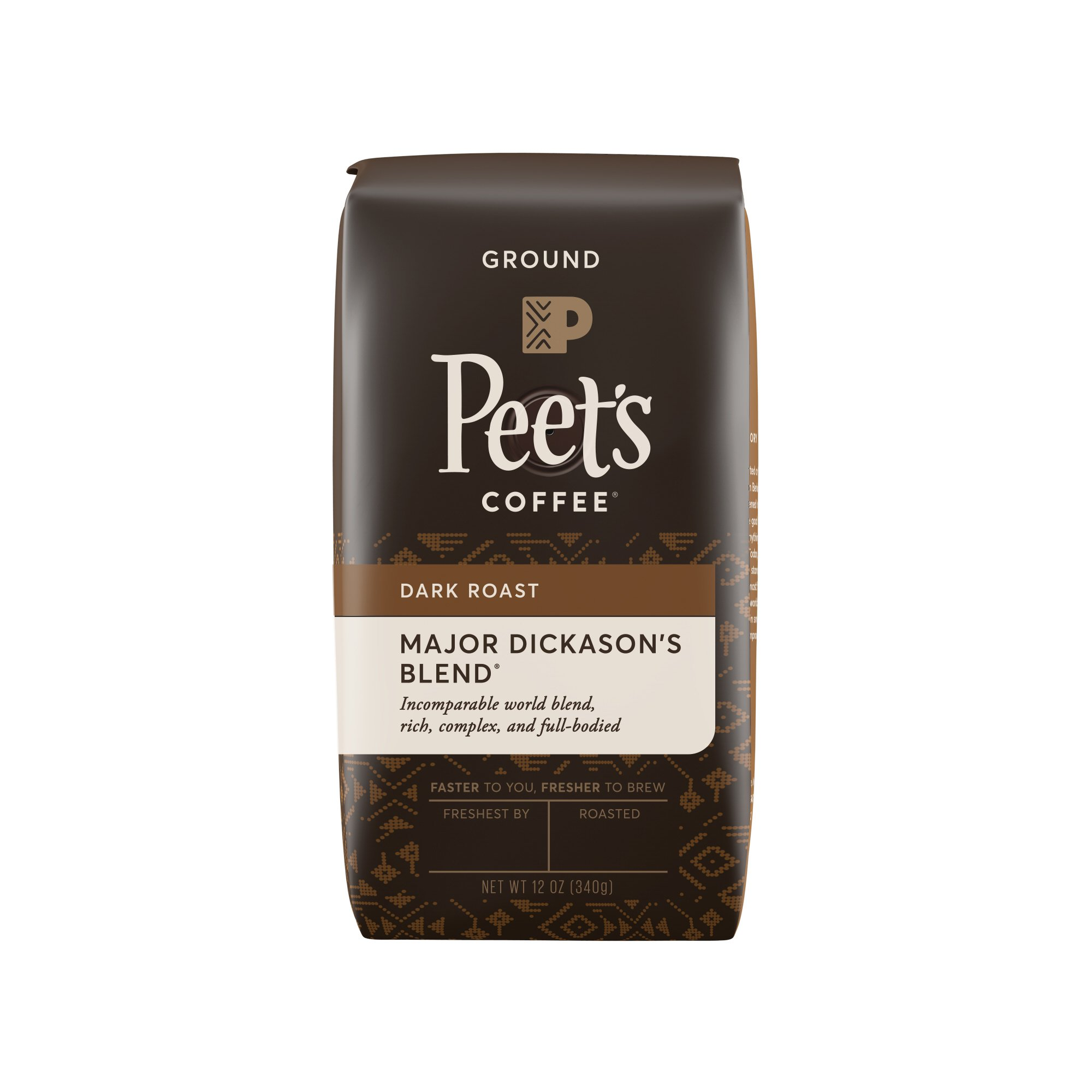 Peet's Coffee, Major Dickason's Blend, Dark Roast, Ground Coffee, 12 oz., Rich, Smooth, and Complex Dark Roast Coffee Blend, with A Full Bodied and Layered Flavor
