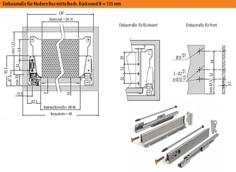 135 mm Tiefe SO-TECH Schubkastensystem grau H/öhe 550 mm Schublade Schubkasten
