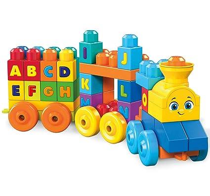 Mega Bloks Tren musical ABC, juguete de construcción para bebé +1 año (Mattel