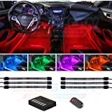 LEDGlow 6pc Flexible Million Color Multi-Color LED Interior Footwell Underdash Neon Lighting Kit for Cars & Trucks - 15…