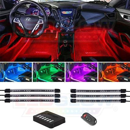 Ledglow 6pc Million Color Led Underdash Car Interior Light Kit Universal Fitment Flexible Light
