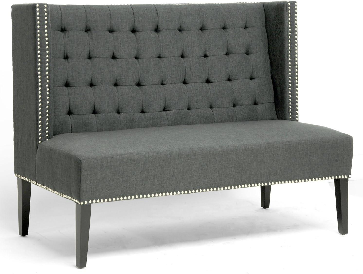 Baxton Studio Owstynn Gray Linen Modern Banquette Bench