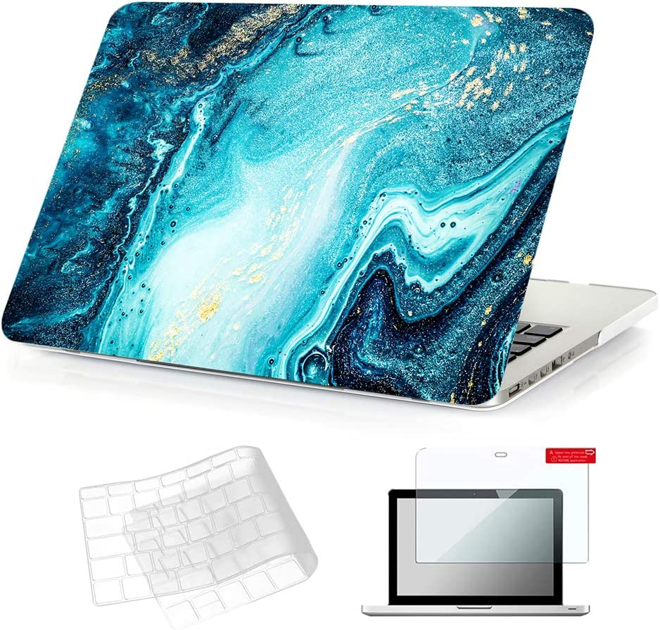 Se7enline 2012-2017 MacBook Pro 13 Inch Case with Retina Display Laptop Hard Frosted Covers A1425/A1502 No CD-ROM for MacBook Pro 13-Inch with TPU Keyboard Cover,Screen Protector, River Sand Patter