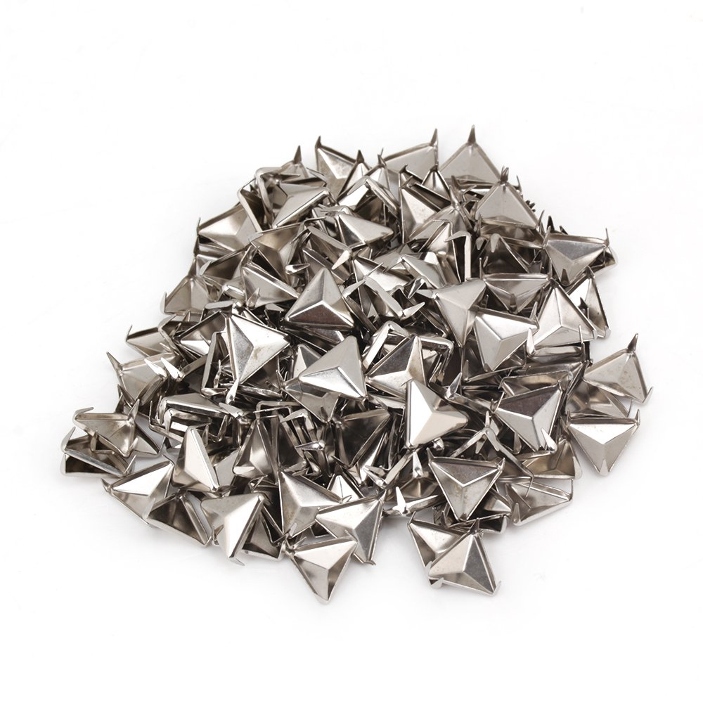 200pcs Silver 12mm Triangle Pyramid Studs Spikes Rivet For Leather Craft
